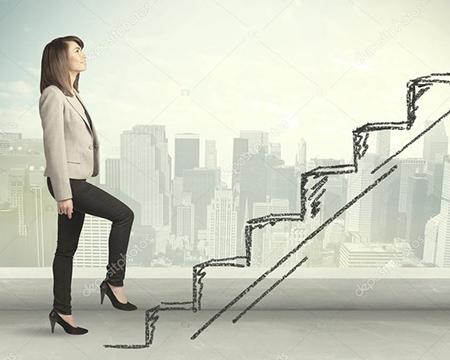 person walking up drawn steps